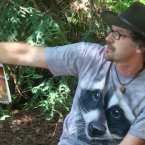 Bo Reading in the redwoods