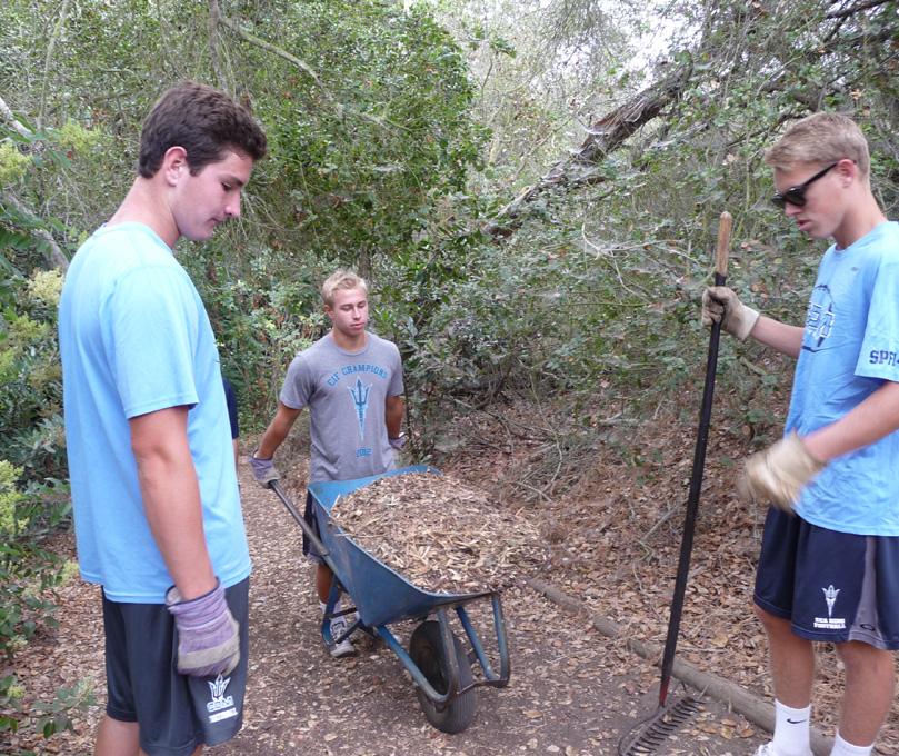 Corona Del Mar High School Football Team Volunteers At ENC