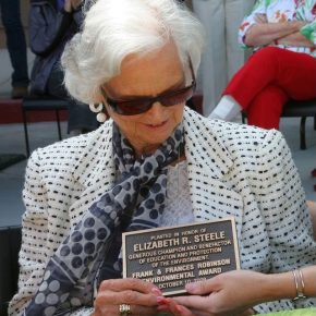Elizabeth Steele plaque for tree planted at ENC in her honor