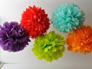 Tissue Paper Pompoms can easily be made at home and are reusable.
