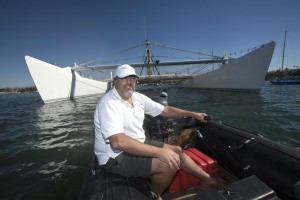 Chris Welsh, of Newport Beach cruises by his 125 feet Catamaran he named Cheyenne in Newport Beach on Thursday. The Cheyenne, will be a launching pad for a deep sea submarine, which Welsh will pilot to explore the deepest places in the 5 Oceans. //ADDITIONAL INFORMATION: cu.0219.cheyenneÐ 02/12/15 Ð ED CRISOSTOMO, ORANGE COUNTY REGISTER- Story on Chris Welsh, a Newport Beach resident who wants to use his boat, the Cheyenne, as a launching pad for a deep sea submarine. The submarine would explore some of the deepest points of the ocean, like the Mariana Trench. Might have some issues photographing the submarine (apparently he has defense contracts for the sub), but thought could take photos of Welsh with the boat.